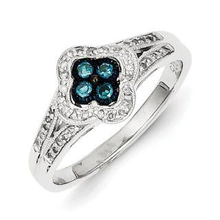 Sterling Silver Blue Diamond Small Flower Ring Jewelry