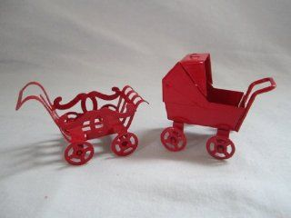 "Set of 2   Vintage Red Metal "" Baby Carriage "" Doll House Furniture 2"" X 2"" Toys & Games"
