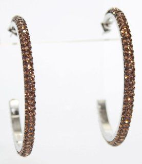 "2.2"" Hoop Earrings with Beautiful Sparkly High Quality Crystals   Brown Jewelry"