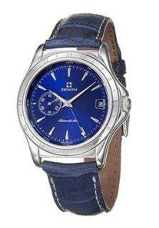 Zenith 01 0035 682 Class Royal Blue Dial Leather Crocodile Men's Automatic Two Time Zones Watch Watches