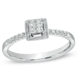 CT. T.W. Princess Cut Quad Diamond Art Deco Promise Ring in