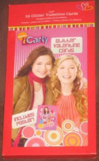 iCarly 32 Glitter Valentine Day Cards with Poster Toys & Games