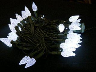 "50 LED C6 White Strawberry 1"" Cone Christmas String Lights Green Wire"