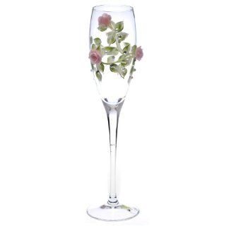 Hand Painted Toasting Flutes Pink Roses, Swarovski Crystals and Pearls Set of Two  Wedding Ceremony Accessories