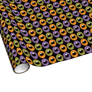Big Cartoon Spider Spotlight Halloween Pattern Gift Wrap Paper