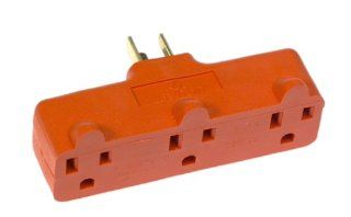 Leviton L00 699 Triple Tap Plug In Outlet Adapter, Orange   Electric Plugs