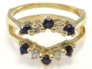 14k yellow gold Sapphire Diamond Ring Wrap Guard Insert Enhancer Jewelry