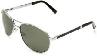 Steve Madden Men's S3013P SLVGR Polarized Aviator Sunglasses,Silver Green Frame/Green Lens,One Size Clothing