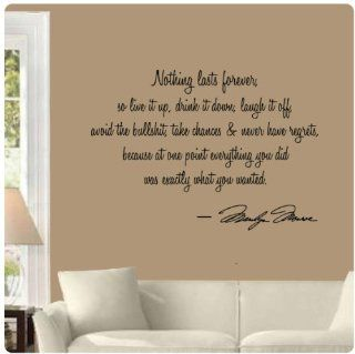 Nothing lasts forever by Marilyn Monroe Wall Decal Sticker Art Mural Home D�cor Quote   Wall Decor Stickers