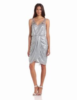 Adrianna Papell Women's Short Draped Dress, Silver, 4