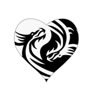 Tribal Dragons Yin Yang (Customize It) Heart Sticker
