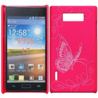 Bfun Hot Pink Butterfly Hard Cover Case Skin For LG OPTIMUS L7 P705/P705G/700 Cell Phones & Accessories