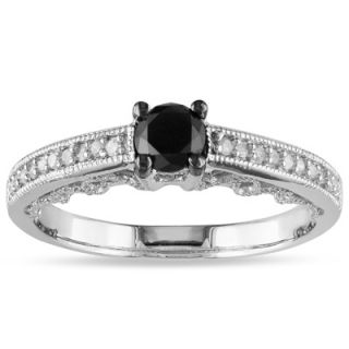CT. T.W. Enhanced Black and White Diamond Vintage Style Engagement