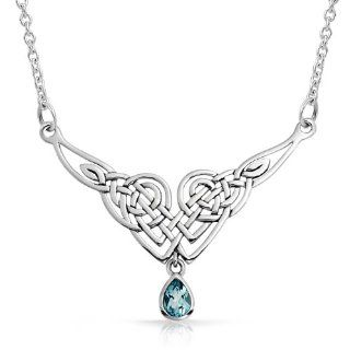 Bling Jewelry Sterling Silver Blue Topaz Celtic Knot Teadrop Necklace Jewelry