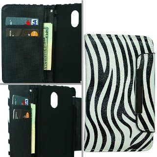 Black White Zebra Stripe Faux Leather Folio Wallet Card Holder Cover Case for Samsung Galaxy S2 S II Sprint Boost Virgin SPH D710 Epic Touch 4G Cell Phones & Accessories