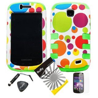 4 items Combo ITUFFY LCD Screen Protector Film + Mini Stylus Pen + Case Opener + Blue Green Orange Purple Polka Red Yellow Colorful Dots Design Rubberized Hard Plastic + GREEN Soft Rubber TPU Skin Dual Layer Tough Hybrid Case for Straight Talk Samsung Gal