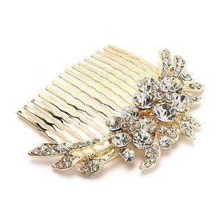 Bridal Wedding Jewelry Crystal Rhinestone Duo Flowers Hair Comb Pin Gold  Decorative Hair Combs  Beauty