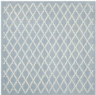 Shop Safavieh CHT721B Chatham Collection Wool Square Handmade Area Rug, 9 Feet, Blue and Ivory at the  Home D�cor Store
