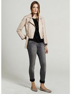Mint Velvet Nude cropped leather jacket Pink