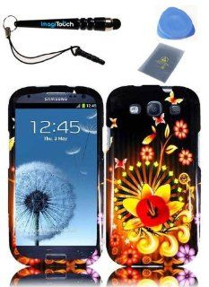 IMAGITOUCH(TM) 4 Item Combo (Stylus Pen, ESD Shield Bag, Pry Tool, Phone Cover) For SAMSUNG Galaxy S3 i9300 SGH i747 (AT & T)   Snap On Hard Case Cover Phone Faceplate Protector with Design   Shine Flower Cell Phones & Accessories