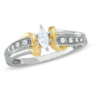 CT. T.W. Marquise Diamond Swirl Promise Ring in 10K Two Tone Gold