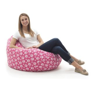 Comfort Research Beansack Large Tear Drop Hot Pink Peace Sign Print Bean Bag Lounge Chair Pink Size Large