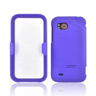 Purple HTC Rezound Hybrid Case Cover with Holster Combo [Anti Slip] Supports Premium High Definition Anti Scratch Screen Protector; Dual Layer Matte Rubberized Hard Cover on Silicone Skin; Coolest Slim and Protective Case Cover for Rezound . Supports HTC D