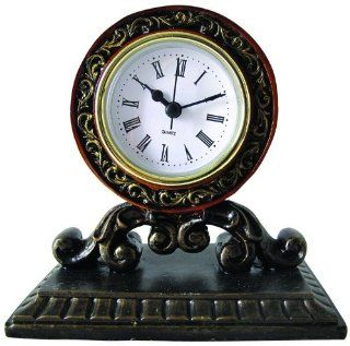 "5.25"" Elegant Distressed Black and Gold Scroll Roman Numeral Mantle Clock   Shelf Clocks"