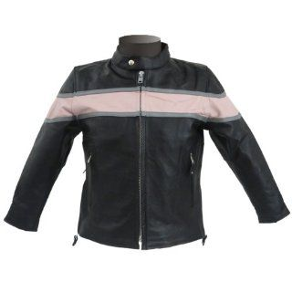 Girls Kid's Pink and Black Leather Jacket KJ745 XS Automotive