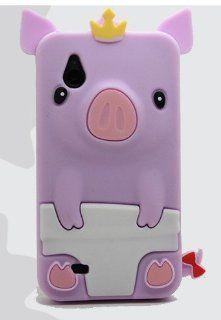 Multi Colors Cute Happy 3D Pig Crown CROWNED PIG Silicone Gel Case Cover For HTC Desire V T328w (puprle) Cell Phones & Accessories