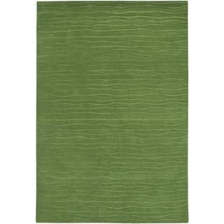 Hand crafted Solid Color Vinyasa Halcyon Sage Green Rug (36 X 56)