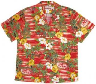 RJC Brand Diamond Head Sunset Men's Hawaiian Shirt Red 4X at  Men�s Clothing store