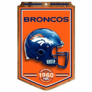 NFL Denver Broncos 11 by 17 Wood Sign Traditional Look  Wall Banners  Sports & Outdoors