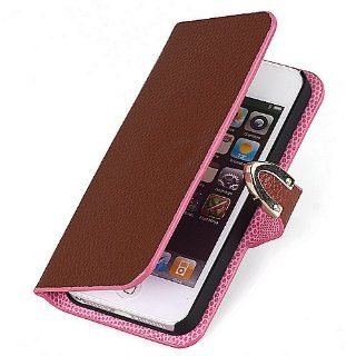 Real Leather Sided Wallet Card Slot Flip Case Cover For iPhone 5G 5 K0581 5 Cell Phones & Accessories