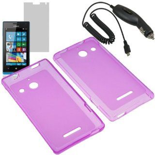 BW TPU Sleeve Gel Cover Skin Case for Net 10, Tracfone, Straight Talk Huawei Ascend W1 + LCD + Car Charger Purple Cell Phones & Accessories