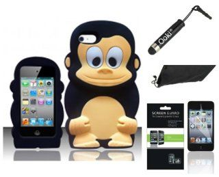 (4 Item Combo) Black 3D Monkey Soft Silicone Skin Case Apple iPod Touch 4 4th Generation Gen Cell Phones & Accessories