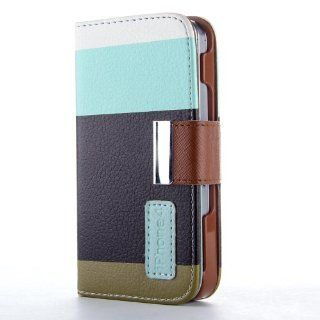 HJX iphone 4/4s Colorful Magnetic clip Wallet Pu Leather Credit Card Holder Slots Pouch Case Cover for iPhone 4 4S Blue/Black/Brown + Gift 1pcs Insect Mosquito Repellent Wrist Bands bracelet Cell Phones & Accessories