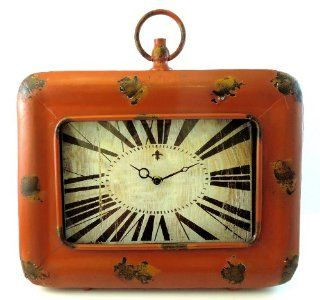 Shop 16x13 Rust Burnt Orange Patina Distressed Table Top Clock w/ Stand at the  Home D�cor Store