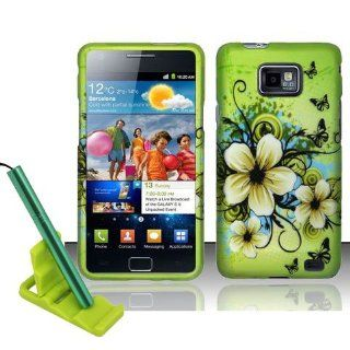 5pcs combo for AT&T Samsung Galaxy S2 S II SGH i777 Green Hawaiian White Flower Butterfly Rubberized Snap on Hard Cover Shield Case + Aluminum capacitive stylus pen + adjustable mini phone stand + lcd screen protector film + case opener Cell Phones &a