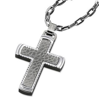 Triton Mens Titanium and Stainless Steel Cross Pendant   Zales