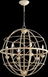 Quorum 6216 6 70 Salento   Six Light Sphere Chandelier, Persian White With Mystic Silver Finish