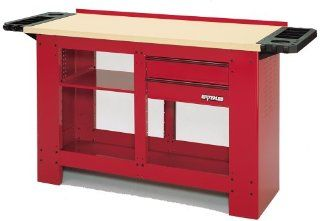 Waterloo WB3020 54 Inch Long by 23 Inch Wide by 36 Inch High Heavy Duty Deluxe Red Workbench with 2 Full Extension Drawers   Tools Products