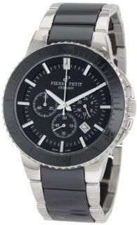Pierre Petit Men's P 809A Serie Colmar Black Ceramic and Stainless Steel Bracelet Chrono Watch Watches