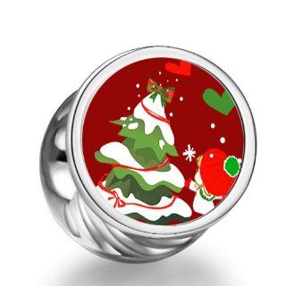 Soufeel Christmas Tree Little Girl Cylindrical Photo European Charms Fit Pandora Bracelets Bead Charms Jewelry