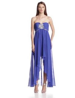 Hailey by Adrianna Papell Women's Strapless Hi Low Gown, Royal, 10