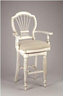 Hillsdale Wilshire Antique White Swivel Counter Stool With Arms 4508 827   Barstools With Backs