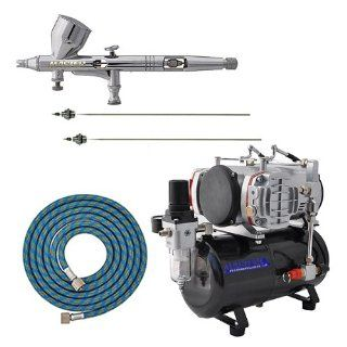 MASTER Airbrush G44 Pro Set with AirBrush Depot TC 828 Twin Piston Air Compressor w/ Tank