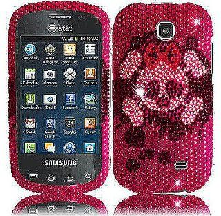 Pink Skull Bling Gem Jeweled Crystal Cover Case for Samsung Galaxy Appeal SGH I827 Cell Phones & Accessories