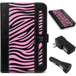 BLACK and PINK Zebra VanGoddy Dauphine Lightweight, Durable Portfolio Jacket Cover Case For Samsung Galaxy Tab 2 7 Inch Student Edition + BLACK Travel USB Car Charger Kit + BLACK Travel USB Home Charger Electronics