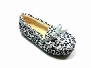 Toddler Girls Gray Leopard White Suede Moccasin Style Slip On Loafers Shoes